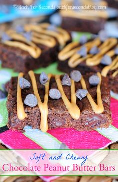 Soft and Chewy Chocolate Peanut Butter Bars #dessert #chocolate