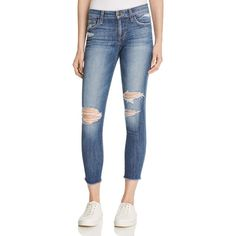 Joe's Jeans Finn Skinny Ankle Jeans in Monique ($195) ❤ liked on Polyvore featuring jeans, monique, blue jeans, blue skinny jeans, destroyed jeans, distressed skinny jeans and torn jeans