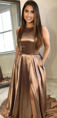 elegant champagne long prom dress with side slit, prom dress party dress formal evening dress, Shop plus-sized prom dresses for curvy figures and plus-size party dresses. Ball gowns for prom in plus sizes and short plus-sized prom dresses for Brown Prom Dresses, Prom Dresses 2018, Formal Evening Dresses, Satin Dresses, Elegant Dresses, Sexy Dresses, Dress Formal, Prom Dresses Tumblr, Formal Prom