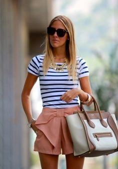 What To Wear for Sunday Brunch: Striped Top + Bow Shorts