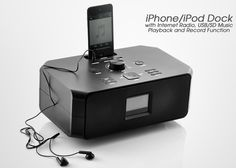 iPhone/iPod Dock with Wi-Fi Internet Radio, USB/SD Music Playback and Record Function      A whole new world of high quality audio entertainment brought to you by this multifunctional iPhone/iPod Dock with Wi-Fi Internet Radio, USB/SD Music Playback and Record Function.     iPhone/iPod Dock  WiFi Internet Radio  USB/SD Card Music Playback  Record function  Get access to thousands of radio stations worldwide