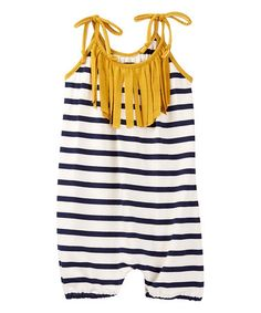 Look what I found on #zulily! Navy & Mustard Stripe Bubble Romper - Infant & Toddler #zulilyfinds