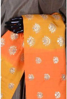 Pure Handloom Silk Embroidery-Deep Grey-Gota Work-WI3789
