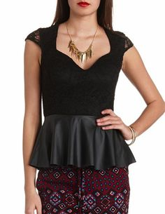 """Faux Leather & Lace Backless Peplum!  """"Trendy, Unique and Affordable"""" - That is the main philosophy at Bling Boutique in Milford, MI!  Stop by our store to find some fashionable items that will spice up your wardrobe!  Visit www.downtownbling.com or call (248)  685-8449 for more information!"""