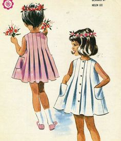 Vintage McCalls 6871 CUT Girls Helen Lee Pleated Dress Sewing Pattern Size 3 Size 3 = Breast Sleeveless, front buttoned dress with Childrens Sewing Patterns, Kids Patterns, Mccalls Patterns, Sewing For Kids, Baby Sewing, Vintage Kids Fashion, Vintage Children, Vintage Outfits, Vintage Girls Dresses