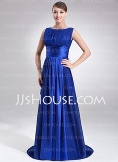 A-Line/Princess Scoop Neck Sweep Train Chiffon Charmeuse Evening Dress With Ruffle (017022545) - JJsHouse