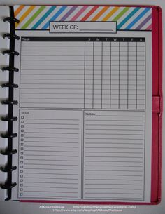 """Weekly Planner Printable Rainbow Stripe PDF Editable fillable Household Binder 2014 2015 day Planner Agenda Add On 8.5 xx 11"""" letter daily https://www.etsy.com/au/listing/180059603/weekly-planner-printable-rainbow-stripe?ref=shop_home_active_1"""