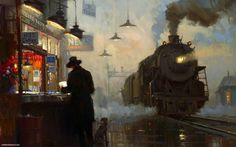 paintings trains train stations vehicles  / 1920x1200 Wallpaper