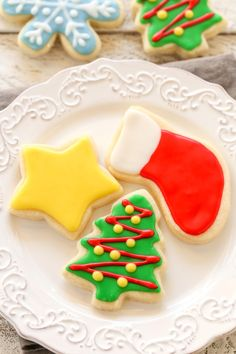 Super soft cut-out sugar cookies decorated with an easy 4-ingredient icing. These Christmas Cut-Out Sugar Cookies are so fun to decorate and perfect for the holidays!