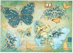 Rice Paper for Decoupage Decopatch Scrapbook Craft Sheet Vintage Butterflies