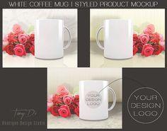 White Coffee Mug Red Roses, Styled Product Background, Product Mockup, Minimal style, Stock Image, Bright background, Creamy, Yellow, White