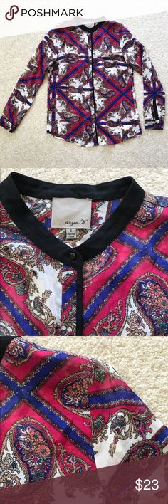 """army K. Paisley Button Down Blouse Anthropologie aryn K. Paisley Button Down Blouse - Size Small. Pink and blue design with black outline. Sheer material. Missing last button. Bust: 35.5"""" // Sleeve Length: 23.5"""" // Length: 26"""" // No tears or stains. Open to offers Anthropologie Tops Blouses"""