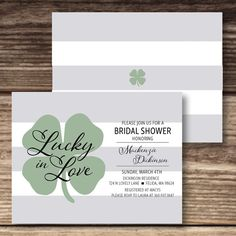 Lucky In Love Bridal Shower / Irish Wedding Shower Invite / St. Patrick's Day Bridal Shower Invitation / Four Leaf Clover / Bridal Party