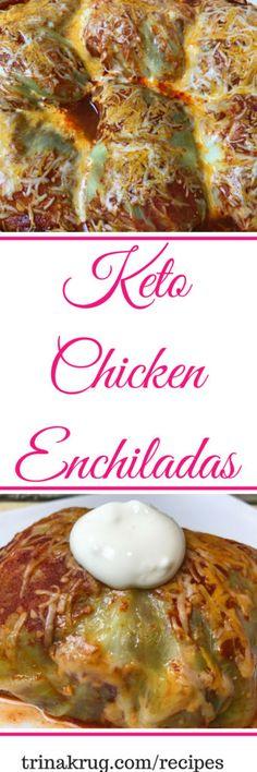 Keto Chicken Enchilada | Keto Diet | Ketogenic Diet | Keto Diet for Beginners | PIN NOW - MAKE LATER! | Visit trinakrug.com/recipes Diet Dinner Recipes, Keto Dinner, Ketogenic Recipes, Low Carb Recipes, Fast Recipes, Keto Foods, Paleo Food, Diabetic Recipes, Clean Recipes