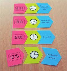 Digital and Analogue Time Puzzle - Fun Math Activity 3rd Grade Activities, Fun Math Activities, Math Games, Kinesthetic Learning, Teaching Math, Fun Learning, Maths, Baby Footprint Art, Math Lab