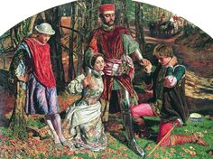 William Holman Hunt, los dos hidalgos de Verona: Valentine rescuing Silvy from Proteus: model for Silvy Effie Gray