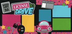 License To Drive-Girl Page Kit Out on a Limb Scrapbooking Paper Bag Scrapbook, Disney Scrapbook Pages, Kids Scrapbook, Scrapbook Sketches, Scrapbook Page Layouts, Scrapbook Cards, Scrapbooking 101, How To Make A Paper Bag, Kids Pages