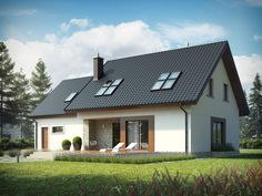 Wizualizacja AC Marcin G2 CE Good House, Facade House, Modern Materials, Architect Design, Skylight, Home Fashion, Home Projects, Building A House, House Plans