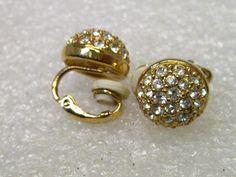 Vintage Swarovski Pave Crystal Domed Clip by stampshopgirl on Etsy