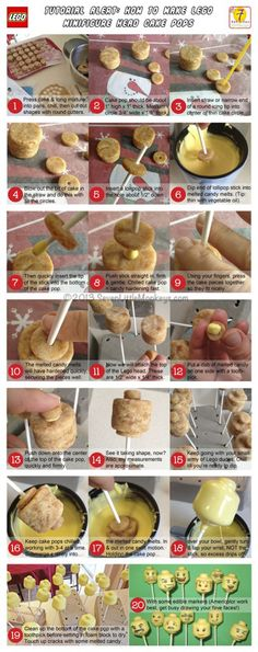 Awesome! How to make a Lego Minifigure Head Cake Pop: Photo Tutorial over at http://sevenlittlemonkeys.com.