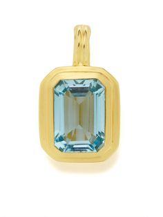 Grace Large Emerald Cut Blue Topaz Pendant Necklace by Slane on Gilt.com