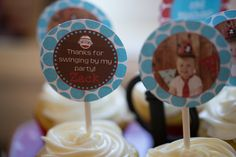 sock monkey theme second birthday party photo cupcake toppers