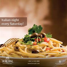 Italian Night Every Saturday at Le Jardin Du Royal Price per person $45 net RSVP +961 4 555 000 - www.leroyal.com  #LeJardinDuRoyal #BeirutLeRoyal #ItalianNight #Italian #SaturdayNight