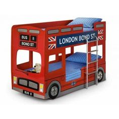 London Bus Bunk Bed by Julian Bowen. The iconic London Bus Bunk Bed design has been transformed into a fun sleeping solution for any child's bedroom. Bus Bunk Bed is a great option due to the due to Bunk Bed Safety Regulations Childrens Bunk Beds, Kids Bunk Beds, London Bus, Single Bunk Bed, Wooden Bunk Beds, Bunk Bed Designs, Loft Spaces, Kids Bedroom, Bedroom Ideas