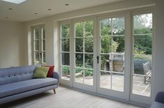 French, Bi-Fold and Patio doors from Timber Windows. Kitchen Patio Doors, Folding Patio Doors, Open Plan Kitchen Living Room, Bi Folding Doors Kitchen, External Bifold Doors, External French Doors, External Wooden Doors, New Home Windows, Patio Windows