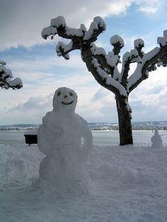 snowman at the lake