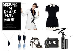 """""""Dressing in Black and white"""" by dileonora on Polyvore featuring Mode, Sophia Webster, RED Valentino, Eyeko, MAC Cosmetics, Anya Hindmarch, women's clothing, women, female und woman"""