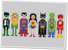 Pixel People - Justice League of America - PDF Cross Stitch PATTERN. $6,00, via Etsy.