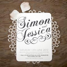 Black & White Vintage wedding stationery ~ doodlelove
