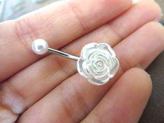 Perle Rose Belly Button anneau blanc nacré fleur nombril Stud Bar de bijoux…