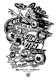 Creative Illustration, Carved, Skateboard, and Tribute image ideas & inspiration on Designspiration Skateboard Images, Painted Skateboard, Skateboard Art, Jim Phillips, Cool Tumblr, Skate Art, Sticker Bomb, Black And White Illustration, Best Graphics
