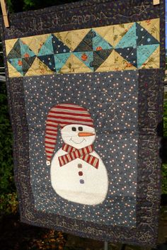 Cute Snowman Quilt by TheQuiltPatchUK on Etsy, £35.00