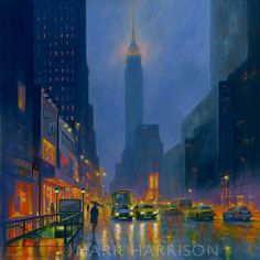 """Sunday rain Fifth Avenue"". I love rainy streets to paint. Oil on board. SOLD"