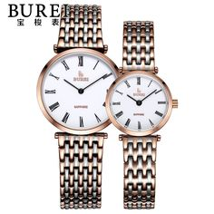 (52.00$)  Watch more here - http://aipya.worlditems.win/all/product.php?id=32755996110 - BUREI Brand Luxury Lovers Sapphire Lens Stainless Steel Quartz Watch Waterproof Couple Wristwatches With Premiums Package 3007