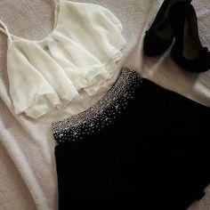 sparkle trimmed skirt, white crop top w/ heels
