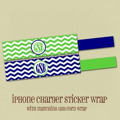 iPhone charger sticker wrap with coordinating USB wrap - Personalized - 028 on Etsy, $5.25