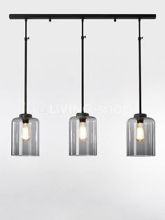 Retro loft hanglamp met glazen lampenkappen LIVINGshop webshop