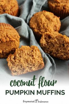 Finally a recipe for coconut flour pumpkin muffins that are light and moist not dense and heavy! These paleo muffins are gluten-free grain-free refined sugar free and dairy free to reduce inflammation and improve wellbeing. Coconut Flour Recipes, Paleo Recipes, Real Food Recipes, Cooking Recipes, Yummy Food, Coconut Flour Muffins, Almond Flour, Bread Recipes, Paleo Dessert