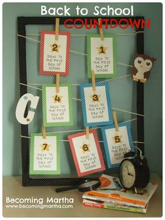 Back to School Countdown - Becoming Martha Free printables and very cute idea for getting the excitement mounting!