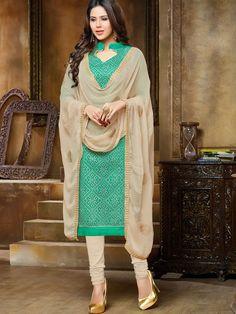Artistic Sea Green Colored Chanderi Casual Salwar Suit - Casual Suits - Salwar Suits