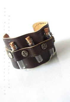 Steampunk Unisex Leather Vial Cuff $49.99