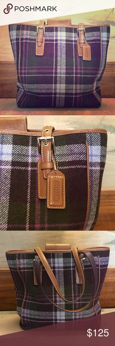 Coach Purple Plaid Bag This wool purple and tan Coach bag is so cute! It is gently worn, as shown in the pictures. It is the perfect size to carry your wallet and tablet on your next adventure.  From a smoke-free and happy-to-bundle closet. [P247] Coach Bags Totes
