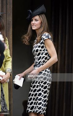 Catherine, Duchess of Cambridge attends the wedding of Sam Waley-Cohen and Annabel Ballin at St. Michael and All Angels church on June 2011 in Lambourn, England. Duchess Kate, Duchess Of Cambridge, Wedding Guest Style, British Royals, Wearing Black, Kate Middleton, Dresses For Work, St Michael, How To Wear