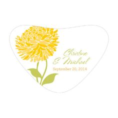ZINNIA BLOOM HEART CONTAINER STICKER (package of 36)