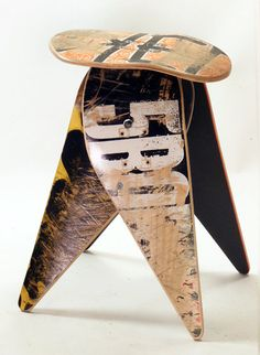 Recycled Skateboard Furniture. This would be good for a teens room