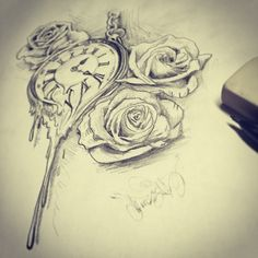 Pocket watch melting with roses pencil sketch